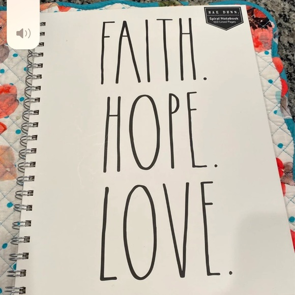 Rae Dunn Spiral Notebook - Faith Hope Love